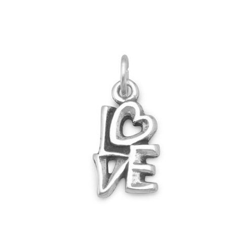 """Oxidized Sterling Silver """"LOVE"""" Charm"""