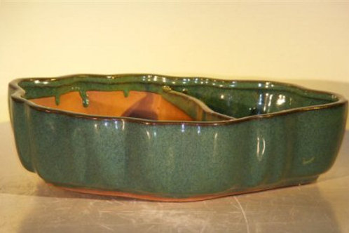 Blue/Green Ceramic Land/Water Bonsai Pot Scalloped Edges