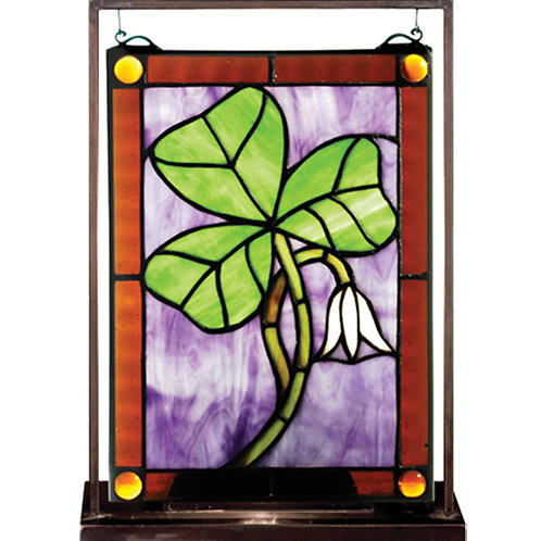 Stained Glass Shamrock Lighted Mini Tabletop Window
