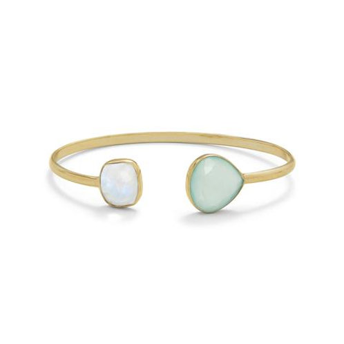 14 Karat Gold Plated Rainbow Moonstone and Green Chalcedony Split Bracelet