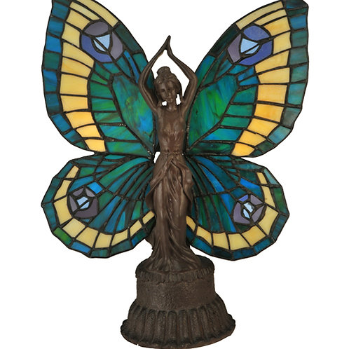 Peach and Green Butterfly Lady Accent Lamp by Meyda
