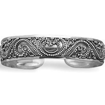 Sterling Silver with Bead Filigree Design Cuff Bracelet