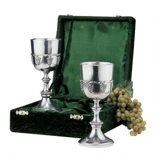 Grape Harvest Solid Pewter Goblet: Set of Two with Gift Box