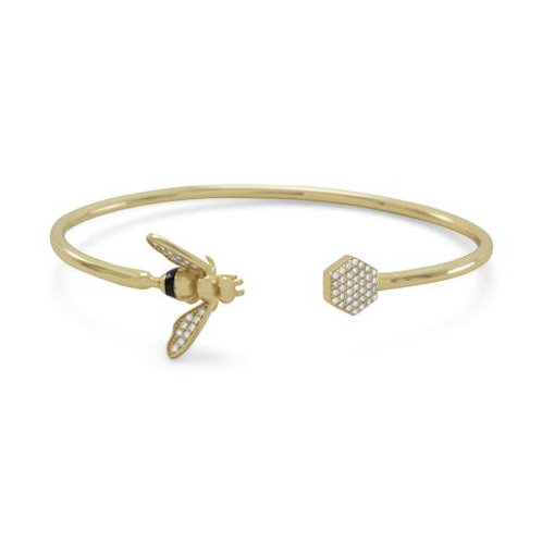 14 Karat Gold Plated and Signity CZ Bee Flex Cuff Bracelet