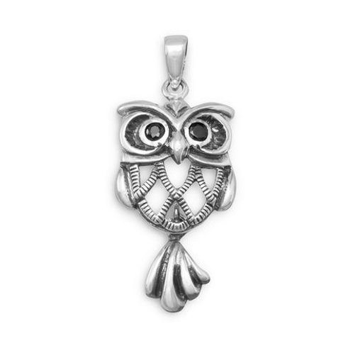 Oxidized Sterling Silver Owl Pendant