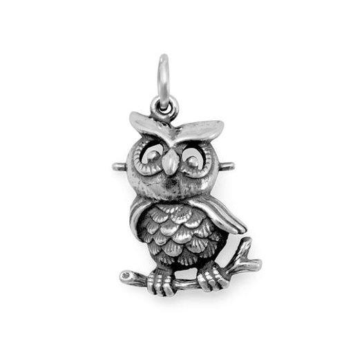 Oxidized Sterling Silver Owl Charm
