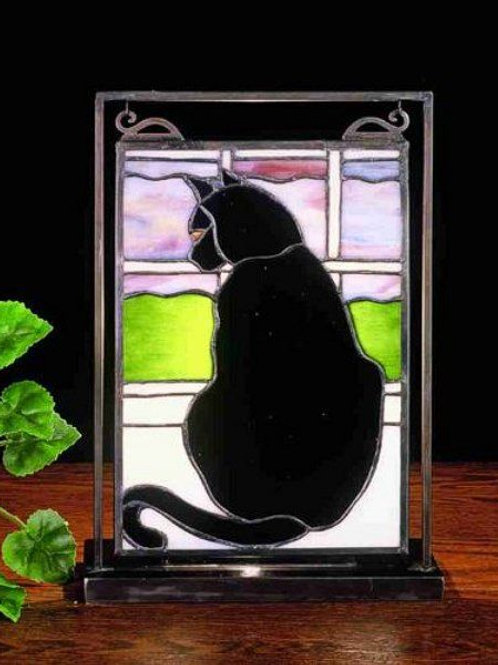 Cat in Window Stained Glass Lighted Mini Tabletop Window by Meyda