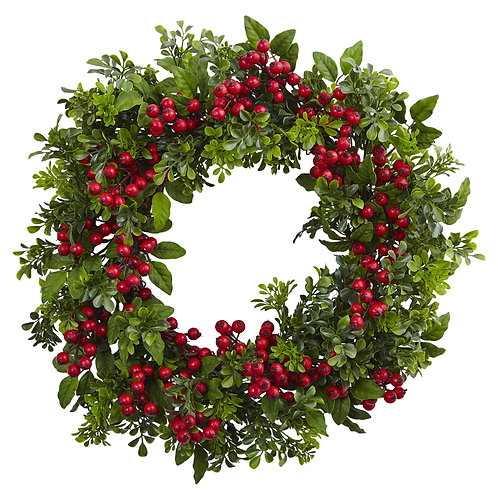 24 inch Faux Berry & Boxwood Wreath