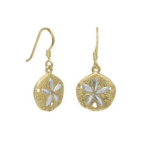 Gold Plated Sand Dollar French Wire Earrings