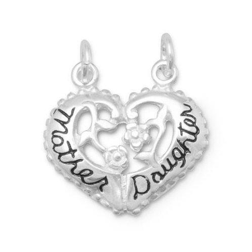 Sterling Silver Mother/Daughter Heart Break-Away Charm
