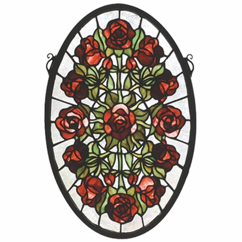 Oval Rose Garden Stained Glass Window by Meyda