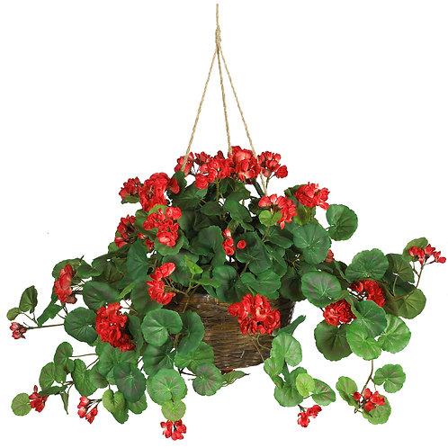 Geranium Hanging Basket Artificial Plant- Red or Pink