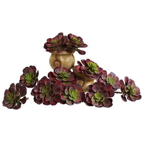 Artificial Burgundy Echeveria Succulents, set of 12