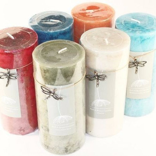 Mottled 6 Inch Tall Scented Pillar Candles with Dragonfly Charm