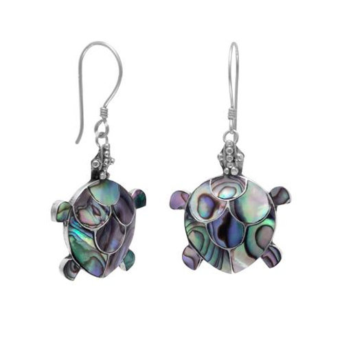 Sterling Silver Paua Shell Turtle Earrings