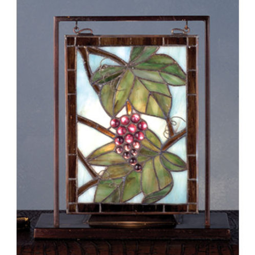 Stained Glass Grape Vintage Lighted Mini Tabletop Window by Meyda