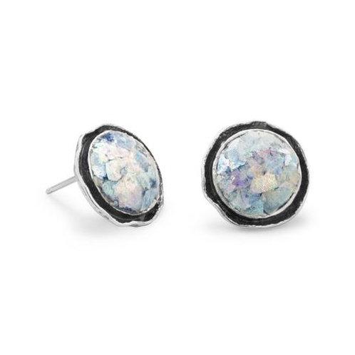 Round Roman Glass Stud Earrings