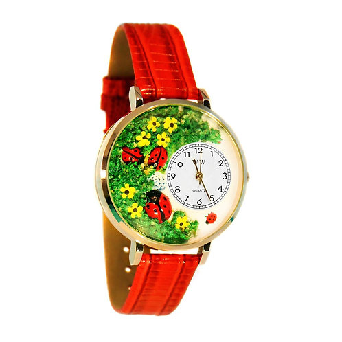 Lady Bug Watch-Large, Gold or Silver