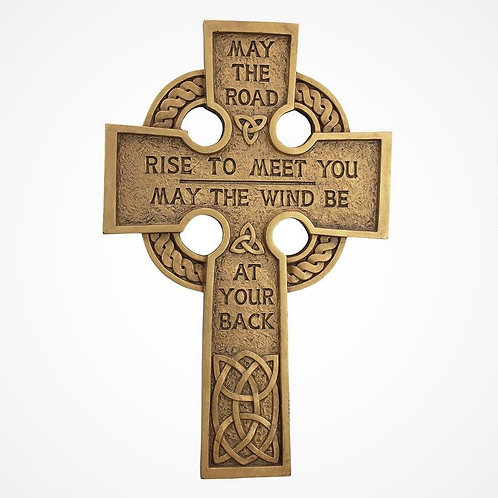 Celtic Cross Wall Sculpture with Gaelic blessing