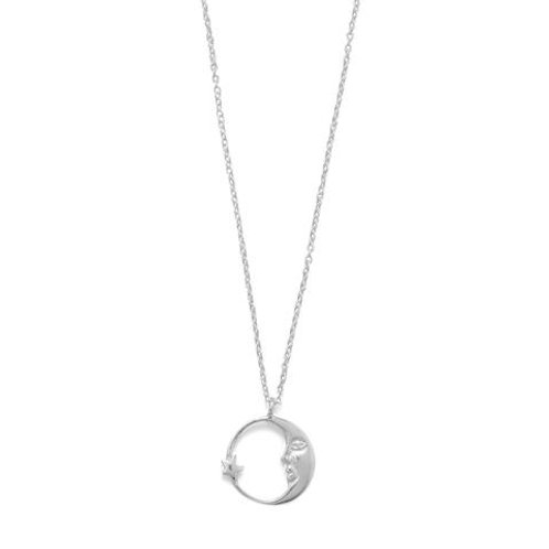 Crescent Moon with Star Necklace