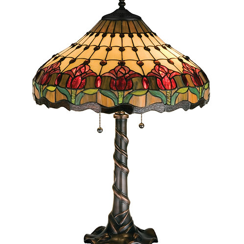 Tulip Stained Glass Table Lamp by Meyda