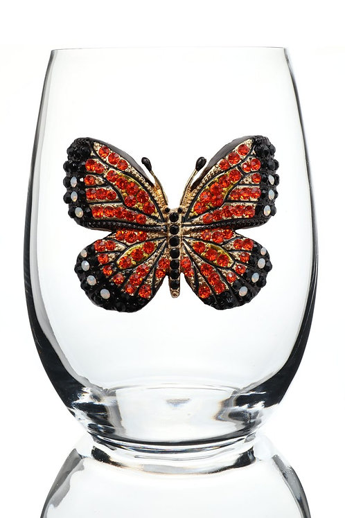 Monarch Butterfly Stemless Wine Glass