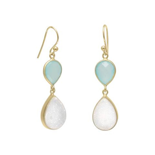 14K Gold Plated Earrings with Green Chalcedony and White Druzy