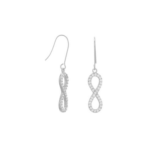 Rhodium Plated Sterling Silver CZ Infinity Drop Earrings