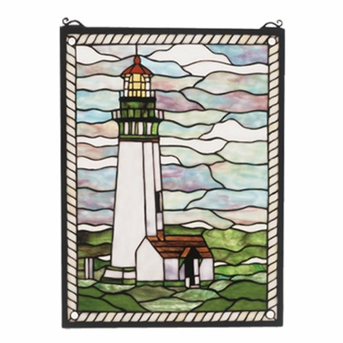 Yaquina Head Lighthouse Stained Glass Window by Meyda