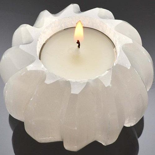 Carved Selenite Sphere Tealight Holder