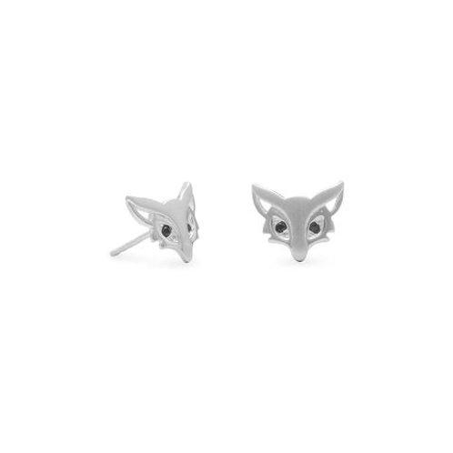 Satin Finish Sterling Silver Fox Stud Earrings