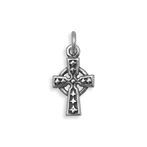 Oxidized Sterling Silver Celtic Cross Charm