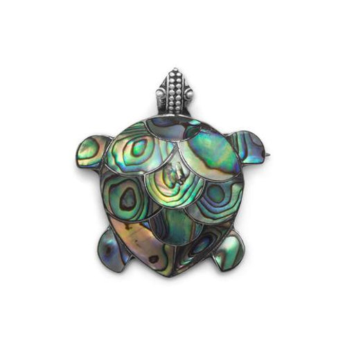 Sterling Silver Paua Shell Turtle Pin/Pendant