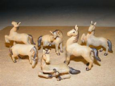 Miniature Horses Ceramic Figurine Set