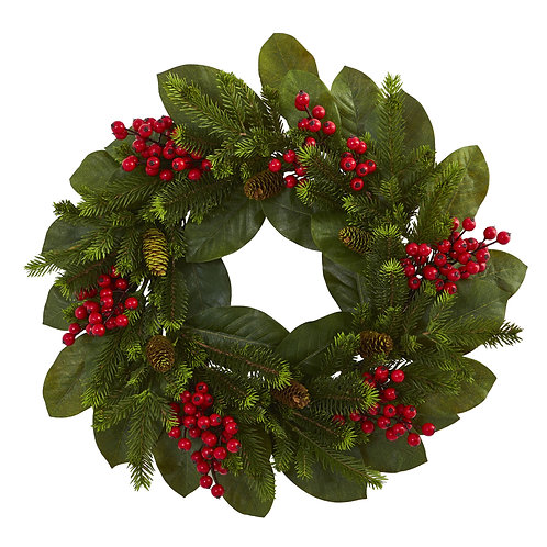 24 inch Artificial Wreath Magnolia Leaf, Berry And Pine