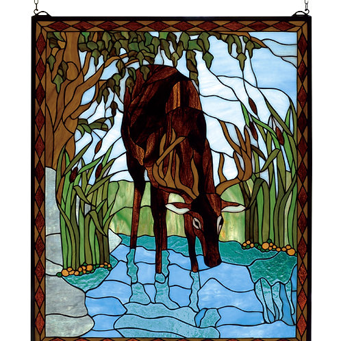 Deer Stained Glass Window Hanging by Meyda