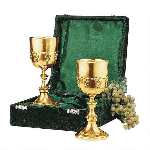 Grape Harvest Solid Brass Goblet: Set of Two with Gift Box