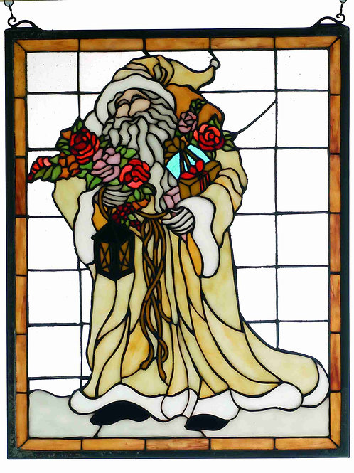 Father Christmas Stained Glass Window Hanging