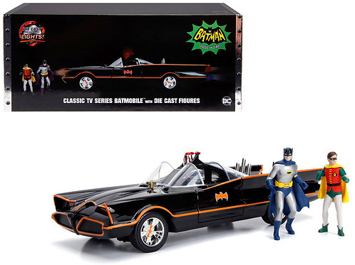 Batmobile with Working Lights, and Diecast Batman and Robin Figures