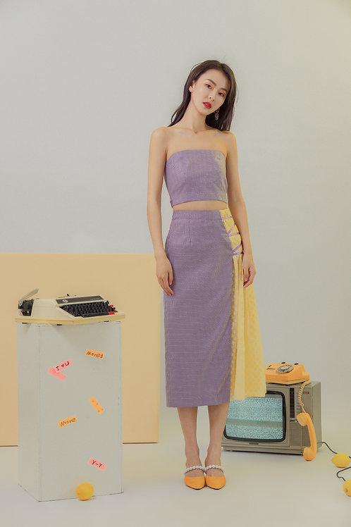 Gather floral print skirt