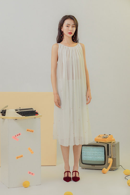 Gather embroidered chiffon dress