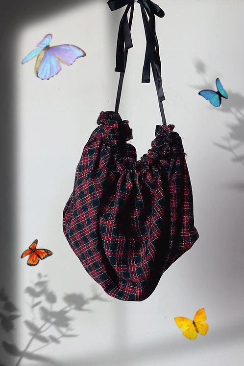 Red plaid gathered shoulder bag