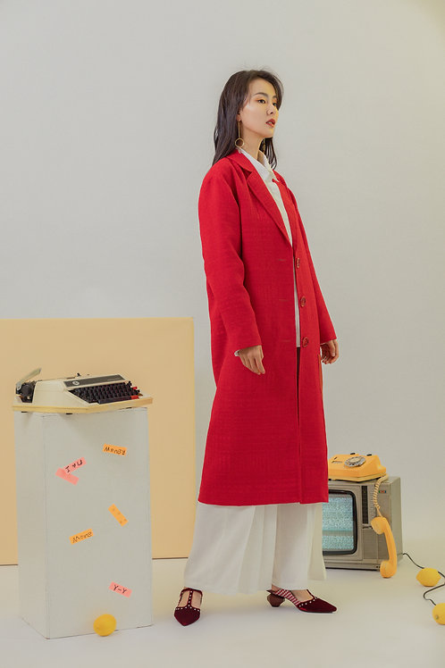 Red Checkered Woven Wool Coat