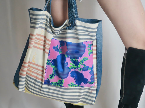 Patchwork Denim and Woven Tote Bag