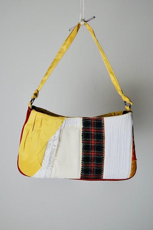 Yellow Denim  patchwork Shoulder Bag