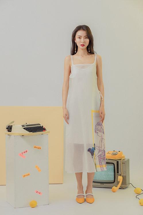 Side pleated print organza dress