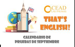 That's English!: Calendario de pruebas de septiembre