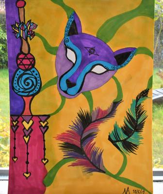 """Pastel coloured Cheetah"" 24x18 cm - price: 175 kr."