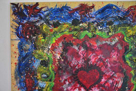 """Heart Splash"" 50x50 cm - price: 500 kr."