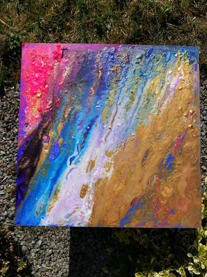 """""""Making art in the garden"""" 40x40 cm - price: 250 kr."""